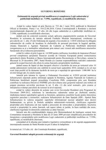 GUVERNUL ROMÂNIEI Ordonanţă de urgenţă privind modificarea ...