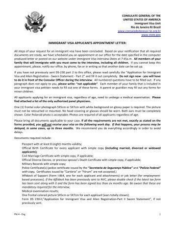 IMMIGRANT VISA APPLICANTS APPOINTMENT LETTER: