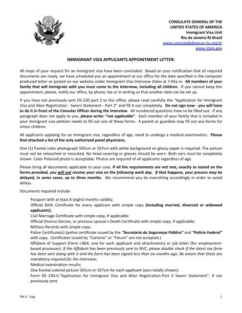 Immigrant Visa Applicants Appointment Letter