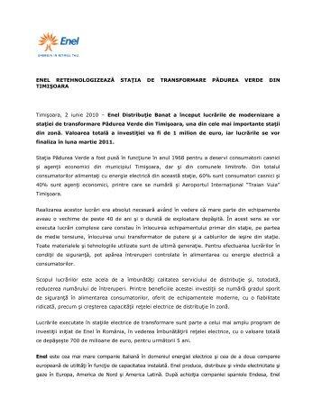 ENEL RETEHNOLOGIZEAZĂ STAłIA DE TRANSFORMARE ...