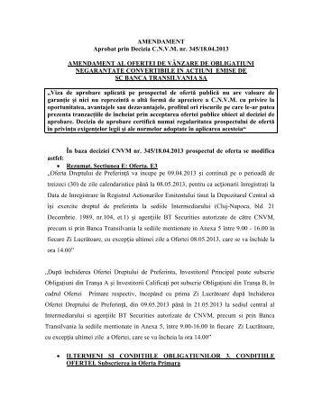Amendament - Banca Transilvania