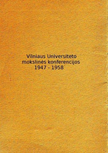 Vilniaus Universiteto mokslinės konferencijos