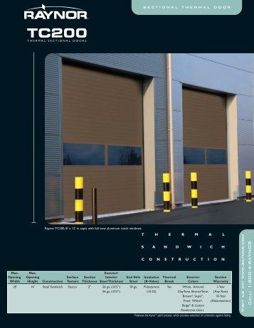 Download TC200 Brochure PDF file - Raynor Garage Doors