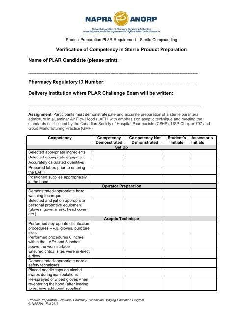 Sterile Product Preparation Checklist - NAPRA