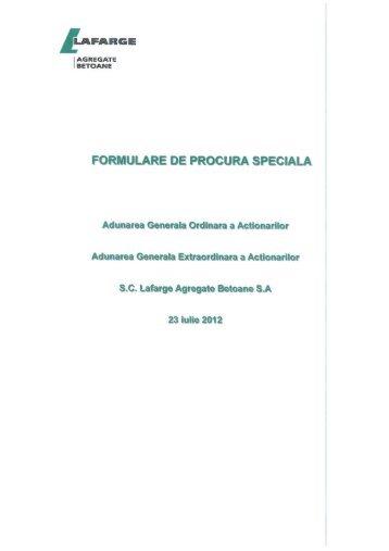 FORMULARE DE PROCURA SPECIALA - Lafarge
