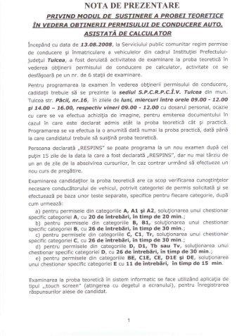 NOTA DE PREZENTARE - Prefectura Judeţului Tulcea