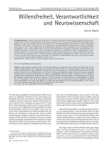 Willensfreiheit, Verantwortlichkeit und Neurowissenschaft - Wuala