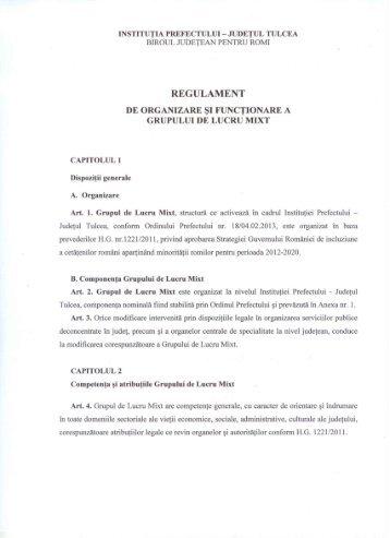 REGULAMENT - Prefectura Judeţului Tulcea