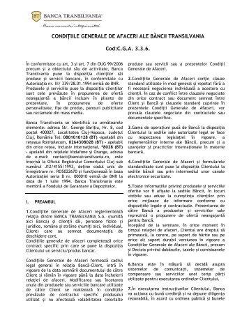 Conditiile generale de afaceri - Banca Transilvania