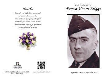 Ernest Henry Briggs - HeavenAddress