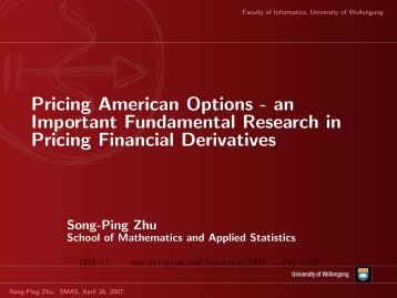 Pricing American Options - an Important Fundamental Research in ...