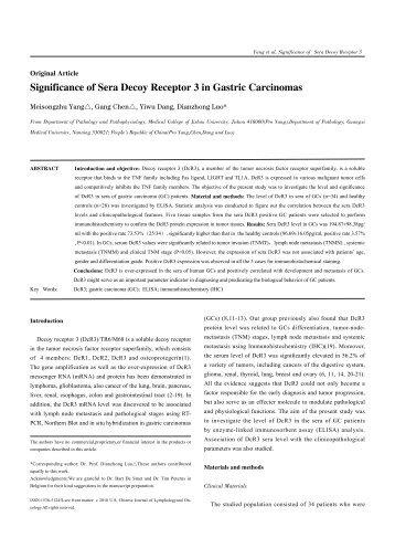 Significance of Sera Decoy Receptor 3 in Gastric Carcinomas