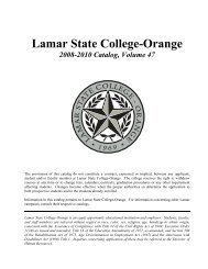 Catalog 2008-2010 - Lamar State College-Orange