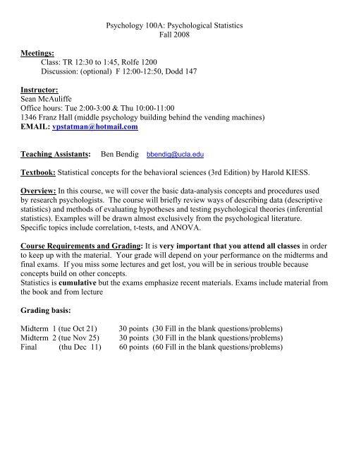 Psychological Statistics - Courses in Psychology - UCLA