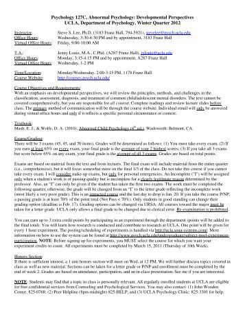 Syllabus - Courses in Psychology - UCLA
