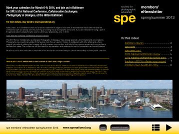 members' eNewsletter - Society for Photographic Education
