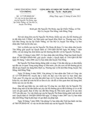 Kính gửi: Bà Nguyễn Thị Đoàn, ngụ ấp Chiến Thắng ... - Đồng Tháp