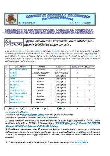Approvazione programma lavori pubblici per il triennio 2009/2011 ...