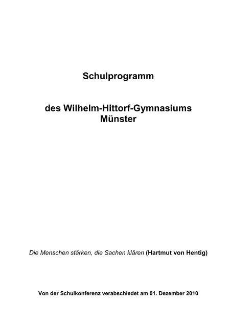 Schulprogramm des Wilhelm-Hittorf-Gymnasiums Münster
