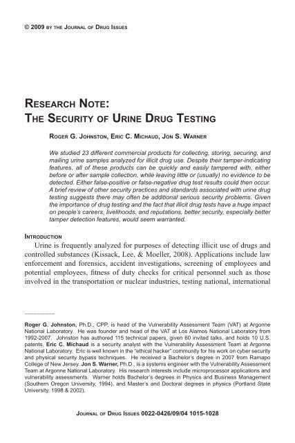 the security of urine drug testing - Journal of Drug Issues