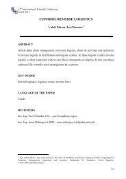 control reverse logistics - LOGI - Scientific Journal on Transport and ...