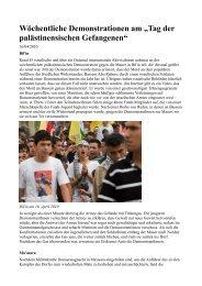 """Wöchentliche Demonstrationen am """"Tag der palästinensischen ..."""