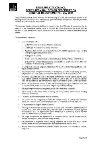 Ferry terminal general specification - Department of the Premier and ...