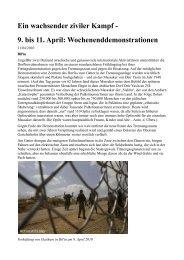 Ein wachsender ziviler Kampf - 9. bis 11.  April ...