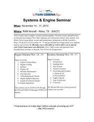 seminar agenda information - Twin Cessna Flyer