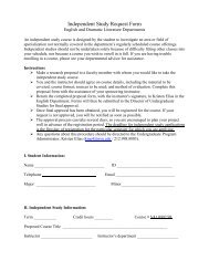 Independent Study Request Form - Department of English   New ...
