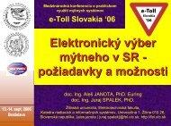 Elektronický výber mýtneho v SR - požiadavky a možnosti