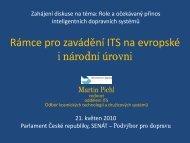 Rámce pro zavádění ITS na evropské i národní úrovni