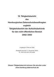 19. Tätigkeitsbericht des Hamburgischen Datenschutzbeauftragten ...