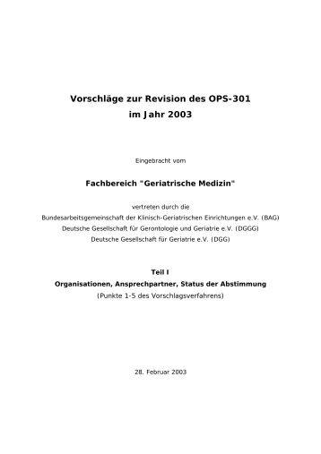 Vorschläge zur ICD-10 und zum OPS-301 - DRG-Kompetenzteam ...