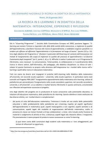 Introduzione - Seminario Nazionale di Ricerca in Didattica della ...