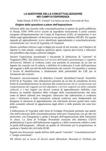 Relazione Douek - Seminario Nazionale di Ricerca in Didattica ...