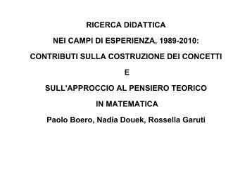 Boero parte I - Seminario Nazionale di Ricerca in Didattica della ...