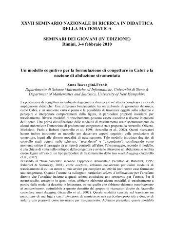Sunti Giovani 2010 - Seminario Nazionale di Ricerca in Didattica ...