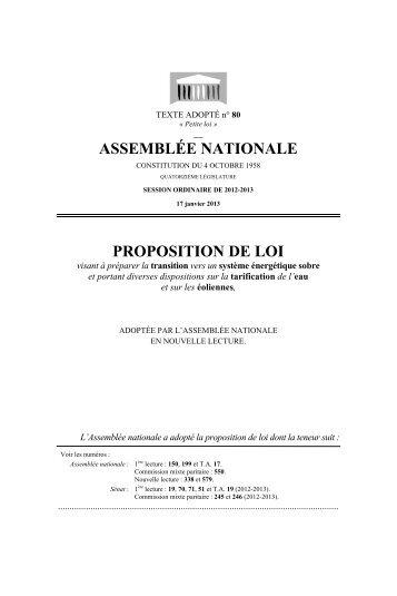 ASSEMBLÉE NATIONALE PROPOSITION DE LOI