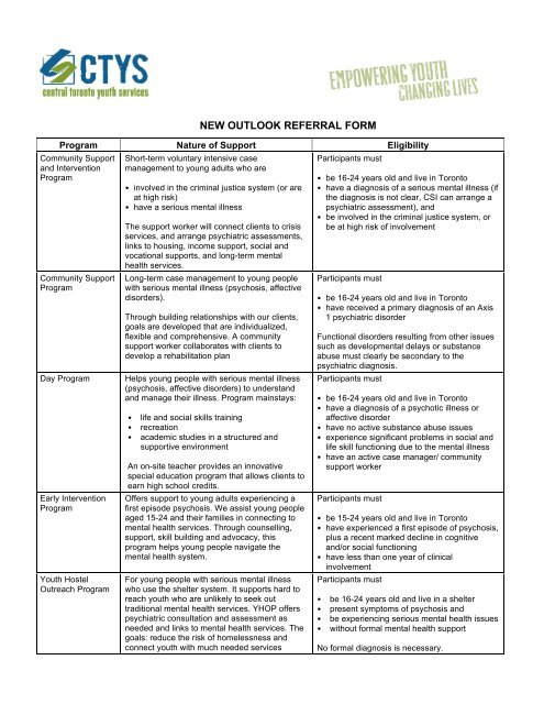 New Outlook Referral Form - Central Toronto Youth Service