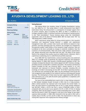 ayudhya development leasing co., ltd. thai airways international plc