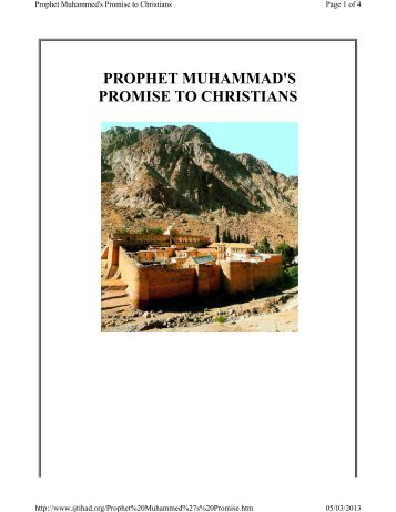 Prophet Muhammads Promise to Christians
