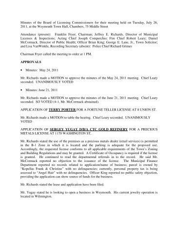 Minutes of the Board of Licensing Commissioners for their meeting ...