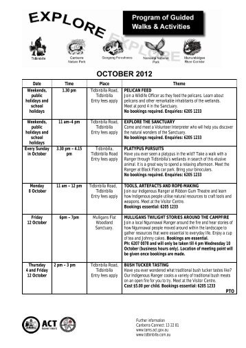 Explore - Program of Guided Walks and Activities - October 2012