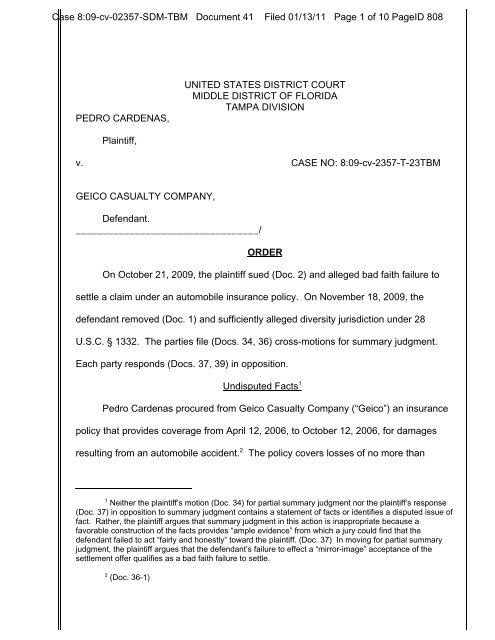 How Long Does It Take Geico To Send Settlement Check >> Cardenas V Geico Casualty Co Bad Faith Blog