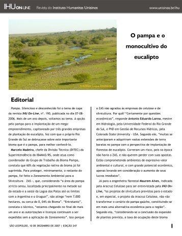 O pampa e o monocultivo de eucalipto - Projeto BIODIVERSIDADE RS