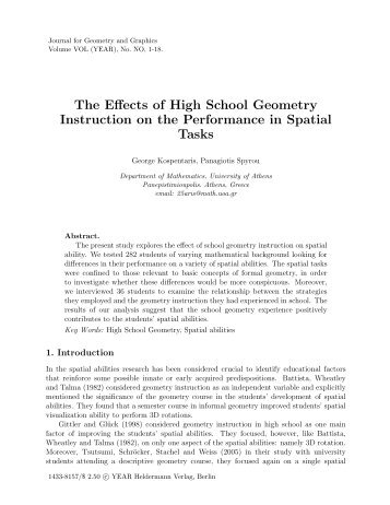 The Effects of High School Geometry on the Performance in Spatial ...
