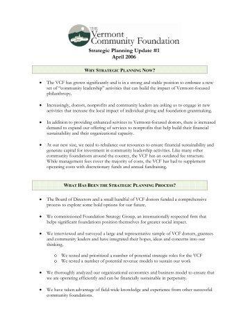 Strategic Planning Update #1 April 2006 - The Community ...
