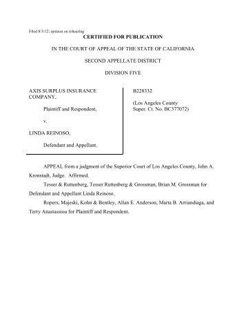 Axis Surplus Ins. Co. v. Reinoso - Insurance Litigation & Regulatory ...