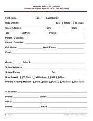 Clinical Low Vision Referral Form - Kentucky School for the Blind